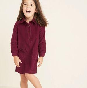 OLD NAVY • girls Burgandy corduroy shirt dress